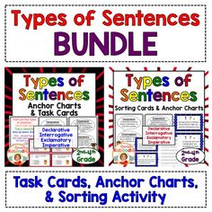 Do your students need to learn about declarative, interrogative, exclamatory, and imperative sentences?  This bundled product is easy to use and includes anchor charts, task cards, and a sorting activity.  Teachers find the material easy to understand and students have so much fun!
