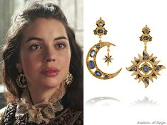 In Reign, Queen Mary wears a pair of Percossi Papi 'Sun and Moon' Gold-Plated Multi-Stone Earrings. Cute Jewelry, Jewelry Accessories, Jewelry Design, Unique Jewelry, Piercings, Emerald Earrings, Stone Earrings, Reign Dresses, Reign Fashion