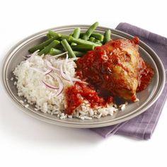 Kip piripiri met rijst en sperziebonen - Boodschappen Cabbage, Grains, Yummy Food, Chicken, Meat, Vegetables, Recipes, Rondom, Nice