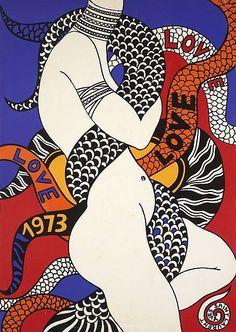 Yves SAINT-LAURENT (1936 - 2008) LOVE 1973 Affiche originale. Impression en couleurs. 51,5 x 37 cm