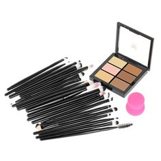 Kit Maquillaje Brochas y Sombras 20PCS