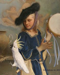 Girl With Her Singing Cockatoo by Allan Banks - 30 x 24 inches Signed and dated 2011 contemporary american academic figures figurative genre bird