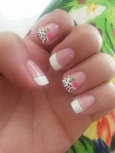 Uñas frances blanco y animal print nails nails, pretty nails, summer nails. Nail Designs 2017, Nail Art Designs, Spring Nails, Summer Nails, Cute Nails, Pretty Nails, Hair And Nails, My Nails, Floral Nail Art