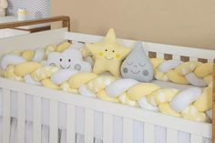 Get a quality product, a shapely and soft crib bumper that protects your baby's hands and feet from getting stuck between crib spindles. It protects the baby's head from hitting the crib walls and compared to standard crib bumpers, it allows for increased air flow into and out of the crib as well as it perfectly matches your nursery decor! 👉Buy it now! At Global Plushie (click the link!)