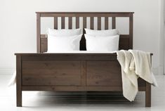 Hemnes Bed Frame from IKEA. Love the gray-brown color. Hemnes Bed, Malm Bed, California King Bed Frame, California King Bedding, Ikea Bedroom, Home Bedroom, Master Bedroom, Ikea Furniture, Bedroom Furniture