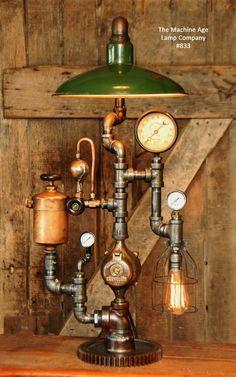 Steampunk Industrial Lamp, Vintage Oiler & Green Shade #833