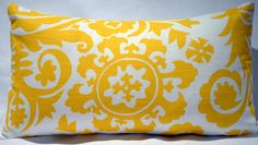Pillows Throw Pillow Decorative Pillow accent pillows Suzani  yellow corn and white, 12x18 inches