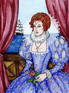 hill_ aka naggingfishwife did this portrait of Elizabeth I for cruisedirector several years ago.