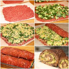 Beef Roll with Broccoli & Cheese.  An interesting way to change up your meatloaf.  This website is not in English, but there are enough pictures to understand the process.  Prepare beef mixture with egg, bread crumbs, and seasoning (your favorite meatloaf)... then lay it out flat on foil or wax paper.  Add broccoli and cheese, then roll up.  Bake at 375 until cooked through.