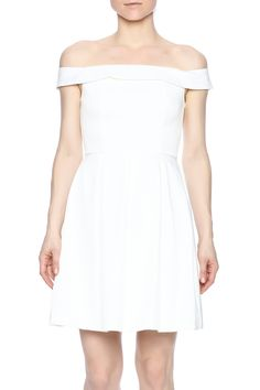 White, off the shoulder dress with short sleeves, a flared skirt, and above the knee length.   Off Shoulder Dress by Mustard Seed. Clothing - Dresses - Casual Manhattan, New York City New York City