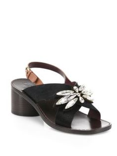 'Madison' Genuine Calf Hair Slingback Sandal (Women), Black