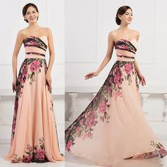 2015 Floral 1950s Chiffon Ball Gown Masquerade Cocktail Evening Prom Party Dress