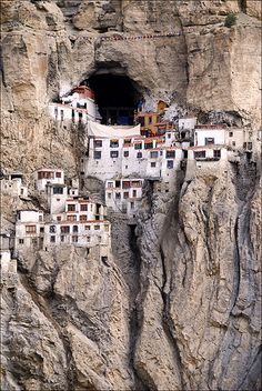 Phuktal Monastery in Ladakh, India, during monsoon season. I want to go to India so badly. Places Around The World, Oh The Places You'll Go, Places To Travel, Places To Visit, Around The Worlds, Hidden Places, Tourist Places, Travel Stuff, Vacation Places