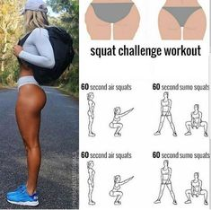 Squat challenge workout to tone your glutes! Summer Body Workouts, Fitness Workouts, Gym Workout Tips, Fitness Workout For Women, Toning Workouts, Easy Workouts, Workout Videos, At Home Workouts, Workout Routines