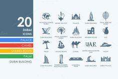 20 Dubai icons by Palau on Creative Market
