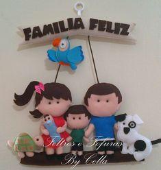 Feltros e fofuras By Cella: Enfeite de Porta / Família Feliz