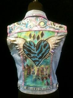 I sell my hand painted wearable art! Most are created on reclaimed denim! Painted Jeans, Painted Clothes, Hand Painted, Clothing And Textile, Diy Clothing, Denim Vests, Denim Jackets, Denim Vintage, Estilo Glamour