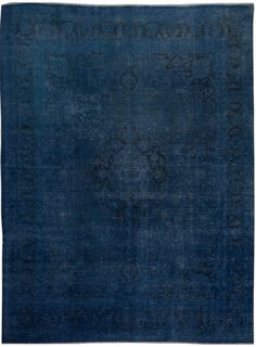 "Navy Blue Persian Antique Overdyed Rug 10' x 13' 5"" (ft) - No. 16088"