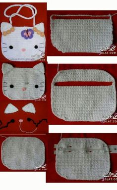 Bolsa de hello kitty a crochet Knitted Dolls, Knitted Hats, Crochet Designs, Crochet Patterns, Crochet Scarves, Crochet Hats, Hello Kitty Purse, Crochet Handbags, Cute Crochet