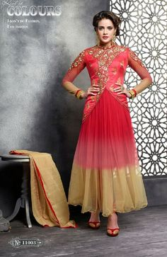 Shoponbit gracefull new embroidery Red anarkali suit
