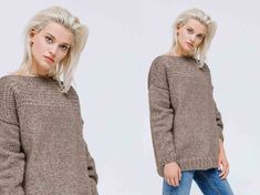 Free knitting: the sweater with fancy stitch panel - Tricot gratuit : le pull avec empiècement au point fantaisie Very sober, this boat neck model is knitted in fancy stitch at the shoulders front and back. The body and sleeves are in point … Boat Neck, Free Knitting, Men Sweater, Turtle Neck, Fancy, Couture, Pullover, Stitch, Sleeves
