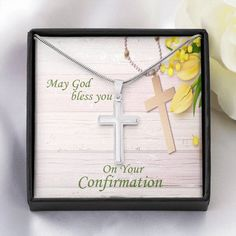 Confirmation Cross Necklace - Christian Gift Necklace for Confirmation – ShineOn Infinity Cross, Graduation Necklace, God Bless You, Christian Gifts, Confirmation, Thoughtful Gifts, Special Occasion, Blessed, Artisan
