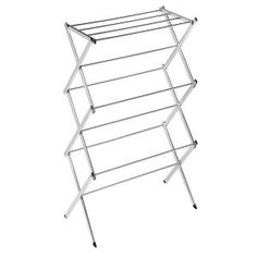 Honey-Can-Do - 24 Linear ft. Chrome Finish Commercial Accordion Drying Rack - Featuring angled legs for stability, this portable, sturdy design is rust-resistant and can be used anywhere in the home for maximum drying advantage. Wooden Clothes Drying Rack, Drying Rack Laundry, Boutique, Chrome Finish, Steel Frame, Household, Stainless Steel, Canning, Storage