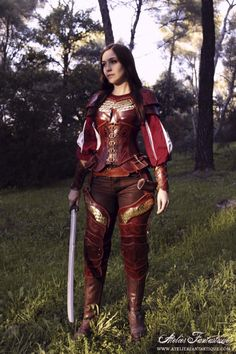 female armor with scales and pouches corset