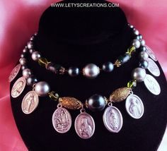 Vintage and New Necklace with Catholic Religious Medals www.letyscreations.com
