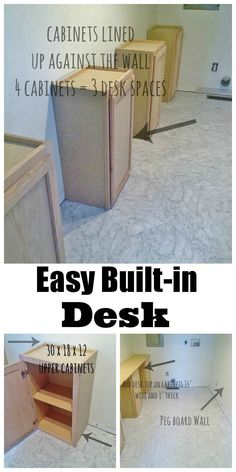 Easy DIY on how to use pre-made cabinets to create the look of a built-in!  Great way to create a custom look for 1/4 the price! #diyproject #builtin #craftroom #desk