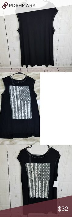 Edista Ladies Black Tee 1X NWOT Black and White Sleeveless tee with American flag print. Edista Tops Muscle Tees