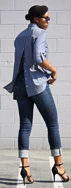 Muito bacana esse detalhe na costas - Chambray Sexy Back Shirt