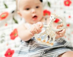 So'Pure teether from Vulli and the Poppy Summer Quilt from Little Unicorn! CUTE