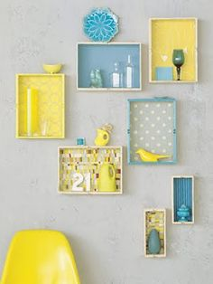 DIY Shelves: Make by painting wooden cubby and putting colorful paper on the bottom, then hang!