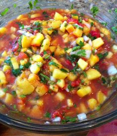 Peach salsa is so fun! Just thinking about it makes my taste buds happy. Eat it plain or use it to dress up any meal. Easy to make & so delicious.