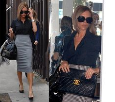 Victoria Beckham -  Pencil skirt/classic Chanel handbag