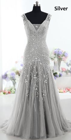 Grey Evening Dress Top Sexy Mermaid V neck Sweep Train Tulle Gray Prom Dresses