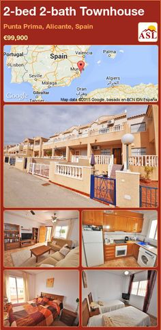 Townhouse for Sale in Punta Prima, Alicante, Spain with 2 bedrooms, 2 bathrooms - A Spanish Life Valencia, Portugal, Alicante Spain, Family Bathroom, Double Bedroom, Townhouse, Terrace, Swimming Pools, Stairs