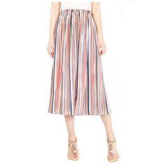 Women Striped Wide Leg Pants Loose High Waist#shorts#and#pants Beach Casual, High Waisted Shorts, Summer Beach, Wide Leg Pants, Midi Skirt, Trousers, Skinny, Pink, Dresses