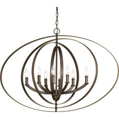 Featuring an openwork design and an antique bronze finish, this eye-catching luminary lends a chic touch to any space.Product: ChandelierConstruction Mate...