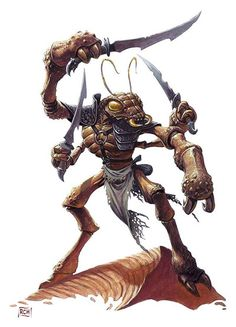 thrikeen.jpg (400×555). six limbed insectoid humanoids from the desert world of Dark Sun