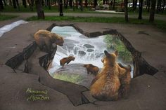 Remarkable 3D Sidewalk Paintings by a Russian Artist...  Walk along a sidewalk and you may soon encounter an unexpected bottomless pit, a wild lion on the loose or a pool of whales. But why and how is this possible?  #picsandpalettes #3DPaintings