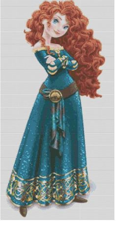 This is a counted cross stitch pattern of the Disneys Merida in a gorgeous glittery gown    As soon as you purchase the file, it will be sent to the
