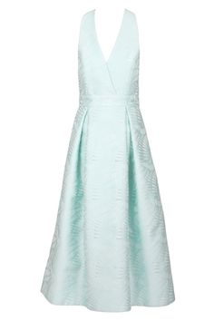 The Coastal V neck dress is inspired by the palm fronds found on the Australian coast line. Their curved graphic nature has been subtly captured in this unique Jacquard fabric in Ice Mint. This sculptural style features generous soft pleats and a cross over front bodice and fixed waistband with rose gold front zip on a flattering wide waistband with the essential pockets for a sense of insouciance. We love this dreamy dress for races or weddings styled a Crusader heel and Simpat…