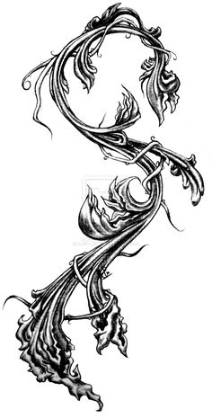 Shadowed Filigree by on deviantART Tattoo Sleeve Designs, Sleeve Tattoos, Filigree Tattoo, Vine Tattoos, Tatoos, Calf Tattoo, Filigree Design, Botanical Flowers, Stencil Art