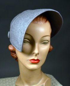 LESLIE JAMES - 1950's VINTAGE GRAY FELT STYLIZED HELMET HAT - ASYMMETRIC BRIM - AVAILABLE FOR SALE AT RPVINTAGE.COM