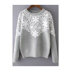 Round Neck Disc Flowers Grey Sweater ($27) ❤ liked on Polyvore featuring tops, sweaters, grey, grey pullover, gray pullover sweater, loose sweater, pullover sweater и loose tops