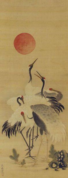 Cranes in the sunrise. Japanese hanging scroll painting, kakejiku.