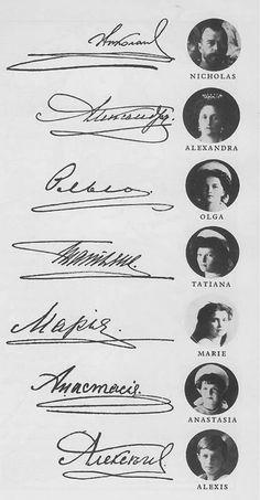 Romanovs, their portraits and signatures.