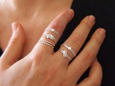 """Excited to share the latest addition to my #etsy shop: Silver Rope Knot Ring, Thin Stacking Rings, Friendship Ring, Love Knot, String Rings, 2 Rings or 3 Rings, Handmade """" With Only a Rope """" http://etsy.me/2jYhyQL"""